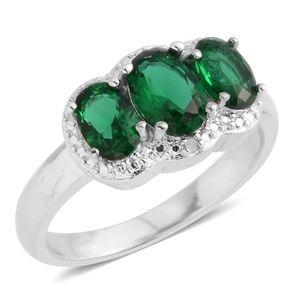 Simulated Green Diamond, Diamond Accent Silvertone